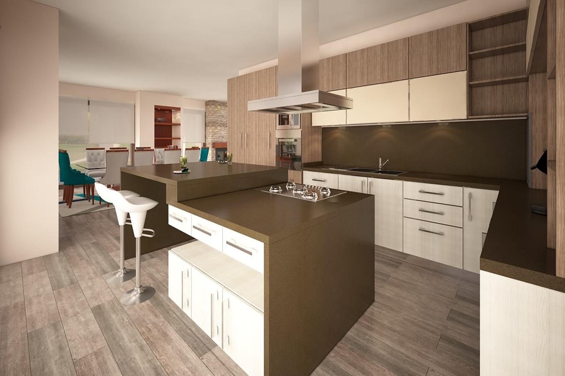 Cocina Moderna – en color Blanco y madera | BM Diseño