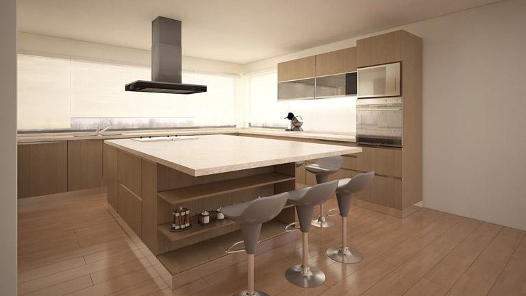 Cocina Moderna – color Madera y Vidrio | BM Diseño