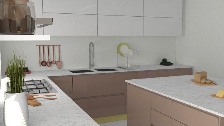 BM Diseño cocina tendencia moderna nogal 3